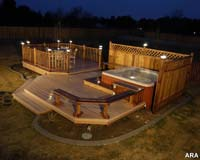 A nice wood deck looks great at night with post cap lights.