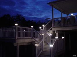 Adding deck lights a simple way to enhance outdoor living decks can come alive at night with easy to install lighting low voltage post lights aloadofball Gallery