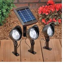 Three solar lights controlled by one solar panel.
